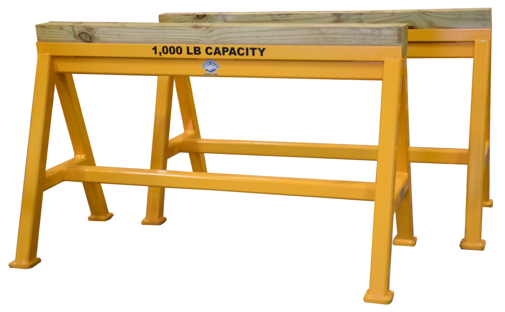 Heavy Duty Industrial steel sawhorse 1,000 LB. Stationary Wood Top (184522)