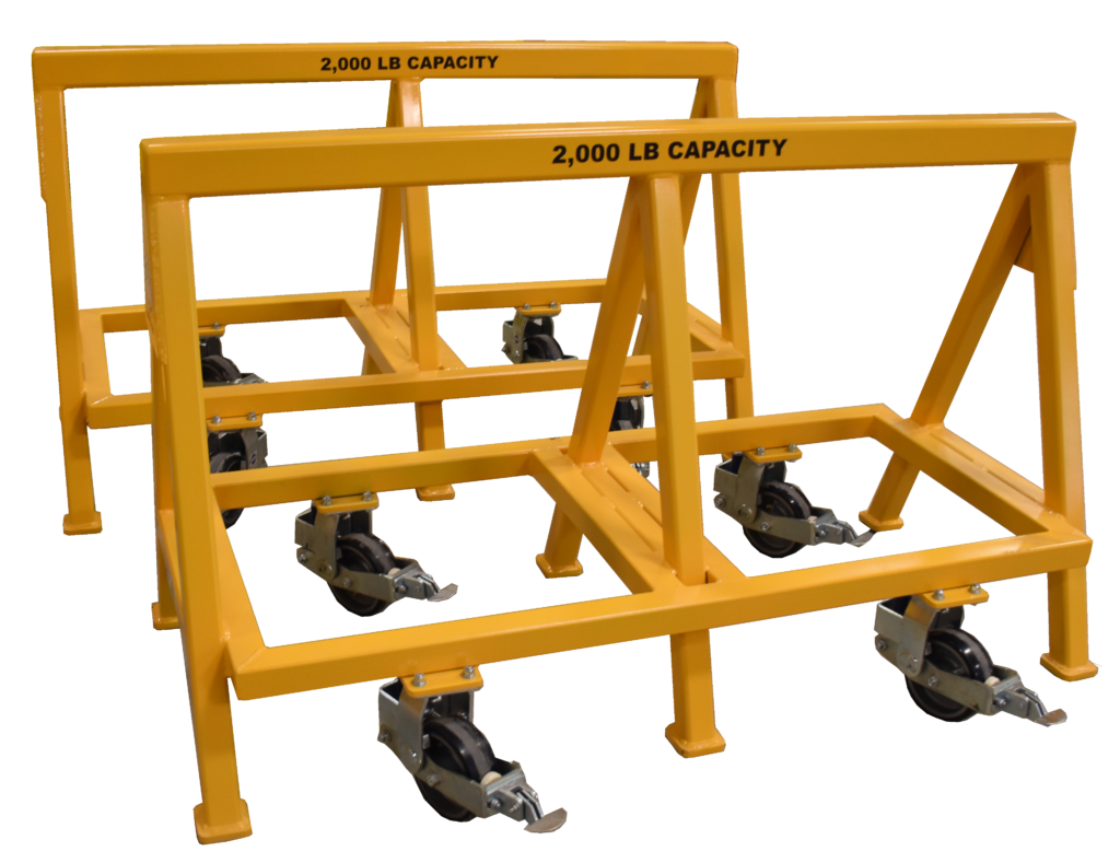 Heavy Duty Industrial steel sawhorse 2,000 LB. Steel Top Spring Loaded Compression Caster (184481)