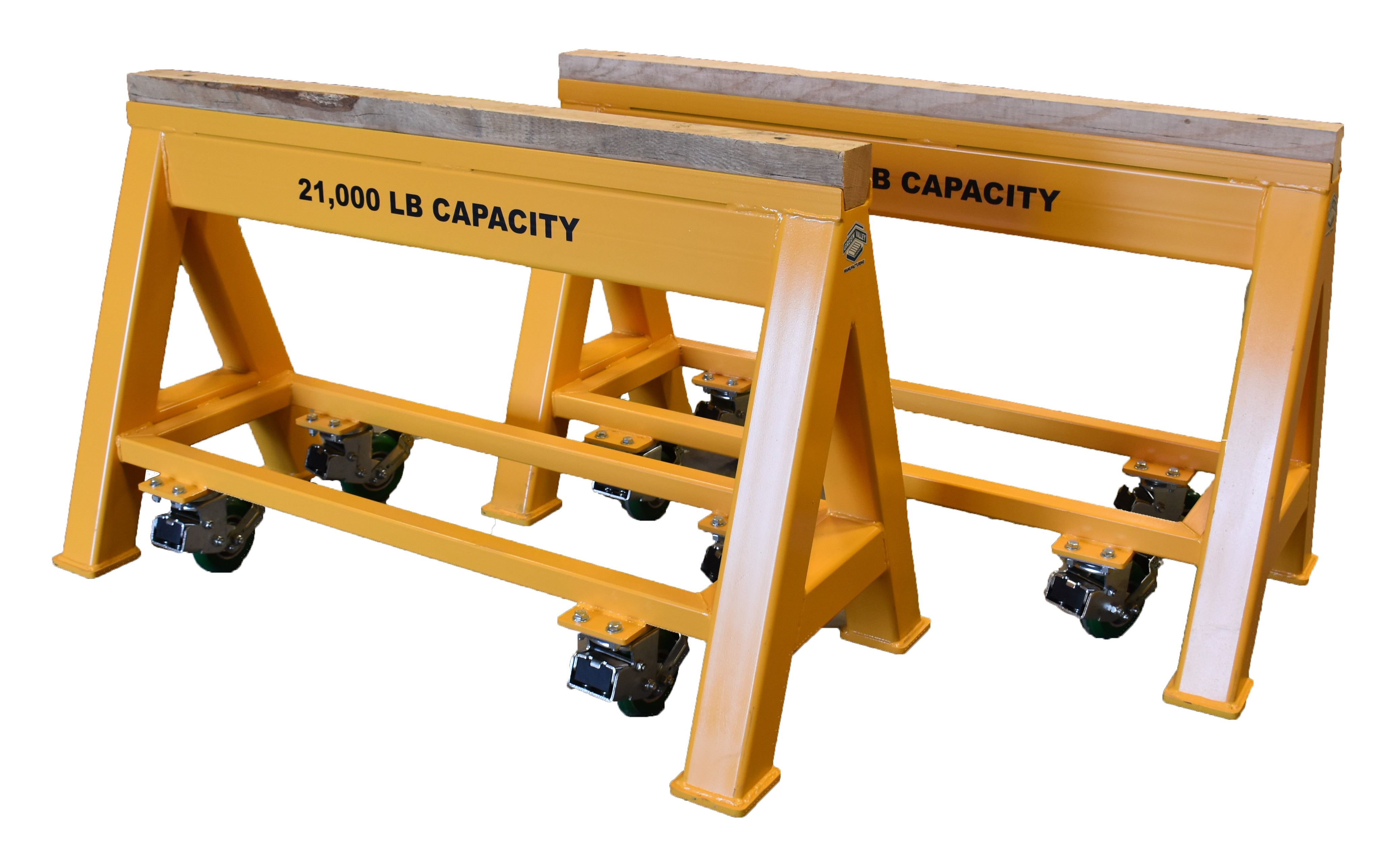 heavy duty steel sawhorse 21,000 LB. Wood Top Spring Loaded Compression Caster Industrial steel sawhorse (184248)