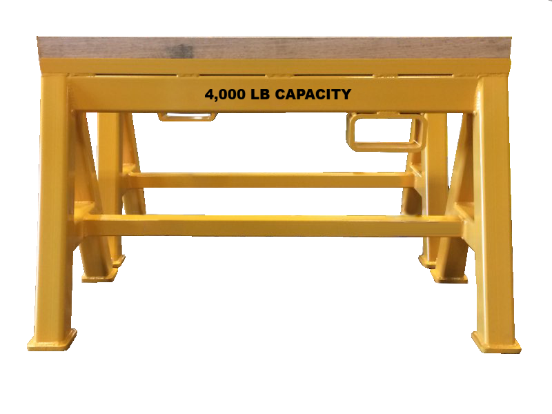 Heavy Duty Industrial steel sawhorse 4,000 LB. Stationary Wood Top (184293)