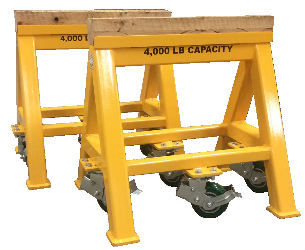 Heavy Duty Industrial steel sawhorse 4,000 LB. Wood Top Spring Loaded Compression Caster (184195)