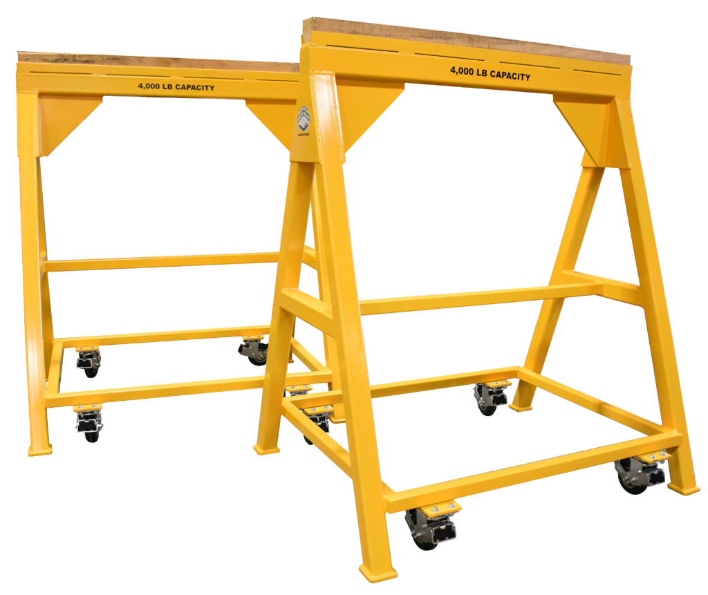 Heavy Duty Industrial steel sawhorse4,000 LB. Wood Top Spring Loaded Compression Caster (184339)