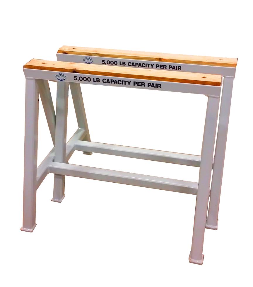 Heavy Duty Industrial steel sawhorse 5,000 LB. Stationary Wood Top (153472)
