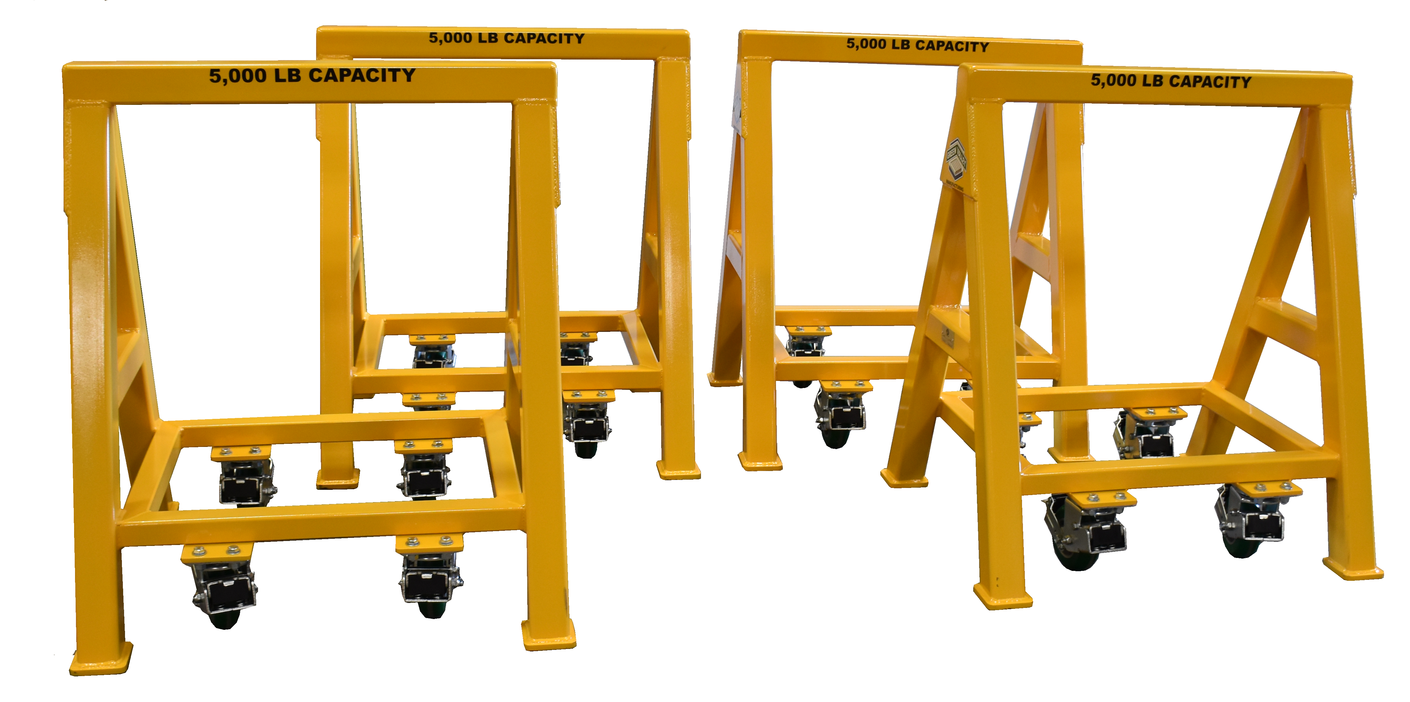 Heavy Duty Industrial steel sawhorse 5,000 LB. Steel Top Spring Loaded Compression Caster (184327)