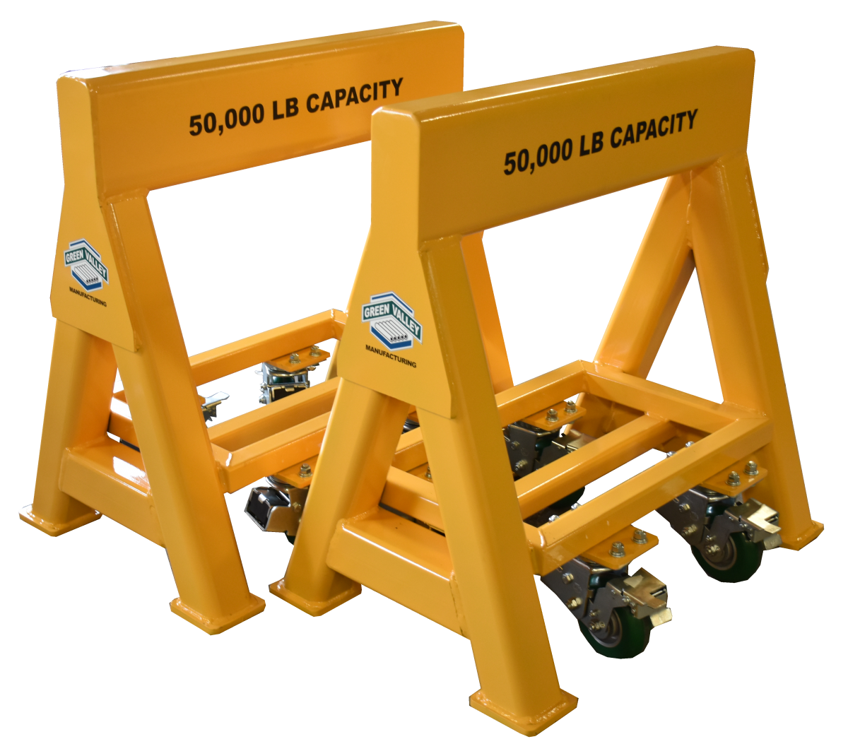 Industrial high capacity steel sawhorse 50,000 lb. Steel Top Spring Loaded Compression Caster (194682)