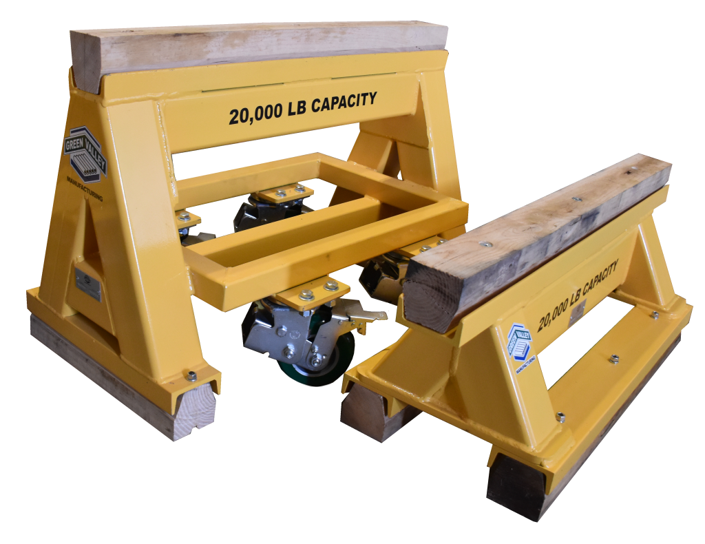 20,000 LB. WOOD TOP SPRING LOADED COMPRESSION CASTER & STATIONERY INDUSTRIAL high capacity sawhorse (194757)